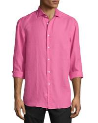 Ralph Lauren Solid Linencotton Long Sleeve Sport Shirt Pink