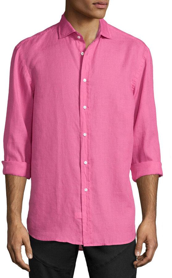 6f377b01 $395, Ralph Lauren Solid Linencotton Long Sleeve Sport Shirt Pink