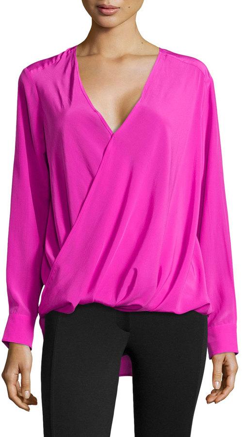 d6dcb4593047de Derek Lam 10 Crosby Silk Wrap Front Blouse Shocking Pink