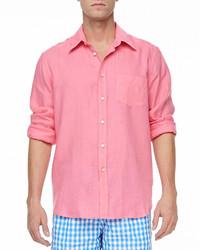 Vilebrequin Linen Long Sleeve Shirt Pink