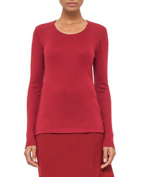 Akris Cashmere Blend Long Sleeve Tee Miracle Berry