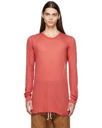 Rick Owens Red Basic Long Sleeve T Shirt