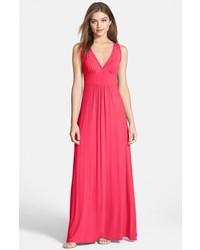 Loveappella V Neck Jersey Maxi Dress