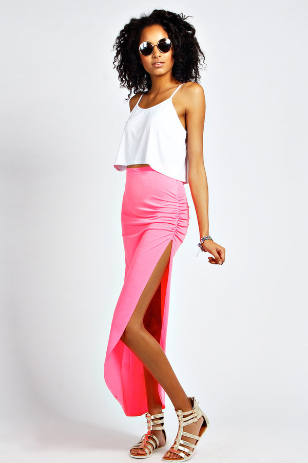 convenience goods enjoy big discount online store $16, Boohoo Nell Neon Ruched Side Jersey Maxi Skirt