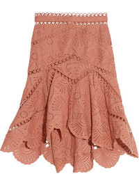Japser asymmetric broderie anglaise cotton mini skirt antique rose medium 3731720