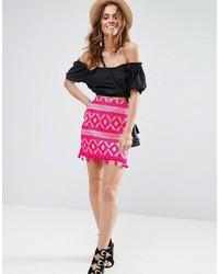 Asos Mini Skirt In Jacquard With Pom Pom Hem