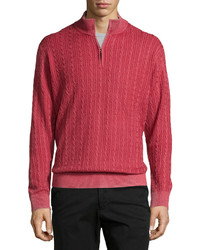 Robert Talbott Washed Cable Mock Neck Sweater Port