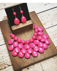 Hot Pink Teardrop Bib Necklace Drop Earrings
