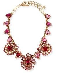 Oscar de la Renta Tiered Crystal Necklace Hot Pink