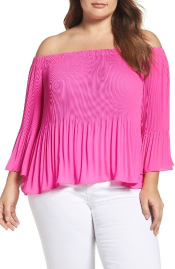 1179cc99adf9 ... Vince Camuto Pleat Off The Shoulder Blouse ...