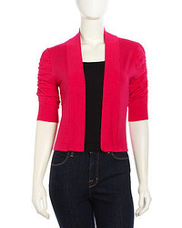 Neiman Marcus Cozy Ruched Woven Open Front Cardigan Hot Pink