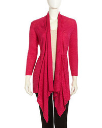 Lafayette 148 New York Open Front Synched Waffle Knit Cardigan Glam Pink