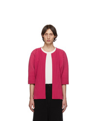 Homme Plissé Issey Miyake Pink Pleated Open Front Cardigan
