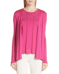 St. John Collection Plaited Fit Flare Cardigan