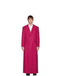Raf Simons Pink Wool Double Breasted Long Coat