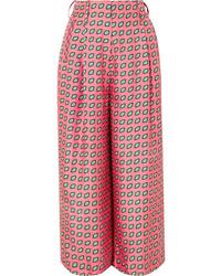 Etro Printed Cropped Silk Twill Wide Leg Pants