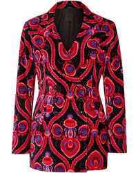 Anna Sui Arabesque Double Breasted Printed Cotton Velvet Blazer
