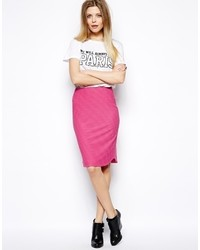 Asos Collection Pencil Skirt In Texture With Curved Hem