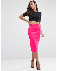 Asos High Waisted Pencil Skirt In Scuba