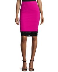 Lace trim crepe pencil skirt fuchsia medium 5359864