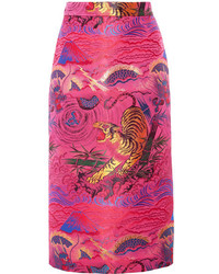 Metallic jacquard midi skirt fuchsia medium 3731782