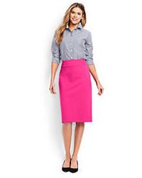 Lands' End Petite Ponte Pencil Skirt Hot Pink