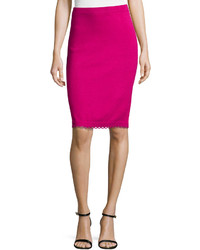 St. John Pull On Knit Pencil Skirt With Loop Trim Cosmo Pink