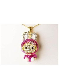 Alilang Hot Pink Bunny Girl Rhinestone Hooded Cat Kitty Face Rabbit Pendant Necklace