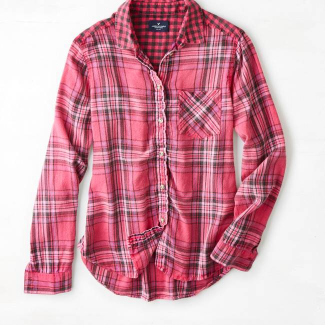 american eagle outfitters yellow plaid button down shirt. Black Bedroom Furniture Sets. Home Design Ideas