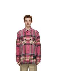 We11done Pink Wool Check Shirt