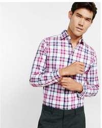 Express Fitted Plaid Cotton Dress Shirt