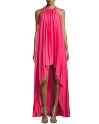 Halston Heritage Sleeveless Pleated Chiffon Gown Begonia