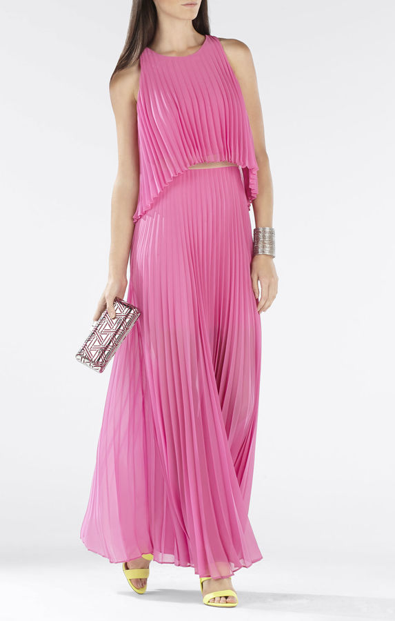 BCBGMAXAZRIA Shaina Sleeveless Pleated Gown | Where to buy & how to wear