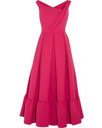 Hot Pink Pleated Midi Dress