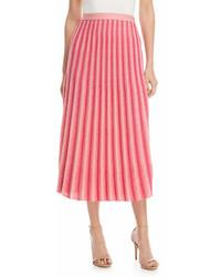 Derek Lam 10 Crosby A Line Pleated Striped Knit Midi Skirt