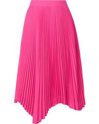 We11done Asymmetric Pliss Crepe Midi Skirt