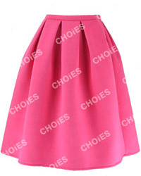 Choies pink pleated midi skirt medium 109948