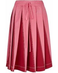 Valentino Contrast Stitch Pleated Midi Skirt