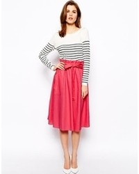 Women's White Floral Cashmere Sweater, Hot Pink Pleated Midi Skirt ...