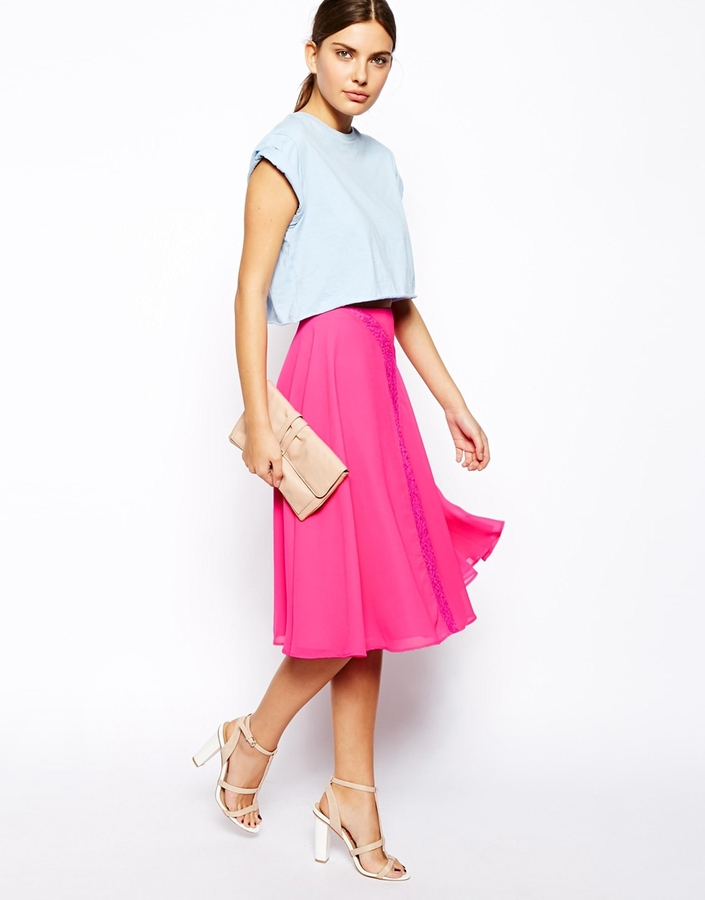 Asos Midi Slip Skirt With Lace Inserts | Where to buy & how to wear