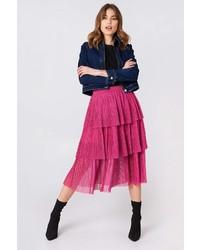 Na Kd Boho Pleated Mesh Skirt