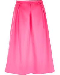 River Island Pink Sateen Box Pleat Midi Skirt