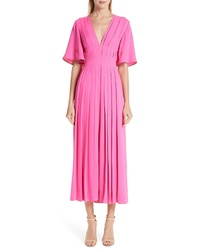 Roksanda Pleated Silk Tte Midi Dress