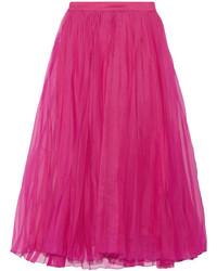 Gucci Pleated Silk Blend Organza Midi Skirt Fuchsia