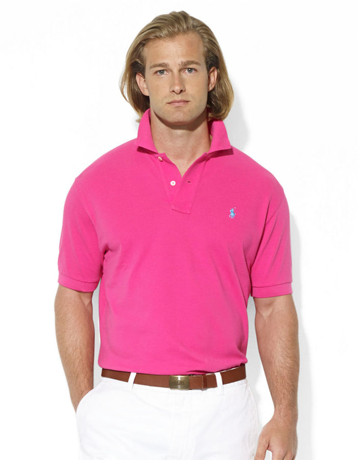 ... Pink Polos Polo Ralph Lauren Classic Fit Short Sleeved Cotton Mesh Polo  ...