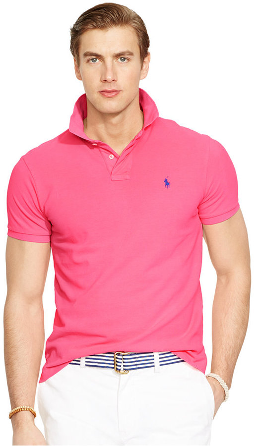 49c2678fb7154b ... Pink Polos Polo Ralph Lauren Custom Fit Neon Mesh Polo Shirt ...