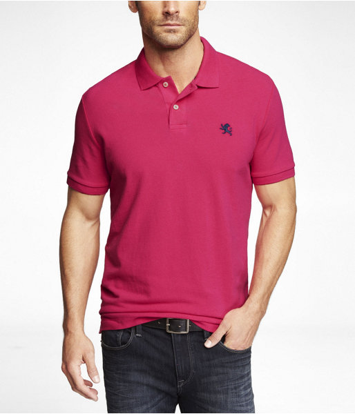 Hot Pink Polo Express Modern Fit Small Lion Pique Polo