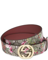 Gucci 37mm Blooms Print Gg Supreme Belt