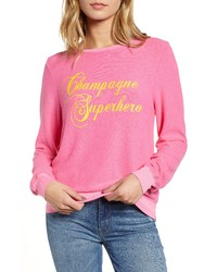 Wildfox Baggy Beach Jumper Champagne Superhero Pullover