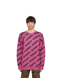 Vetements Pink All Over Logo Sweater